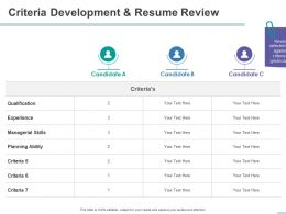 Criteria Development And Resume Review Skills Ppt Powerpoint Presentation Background