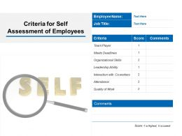Criteria For Self Assessment Of Employees