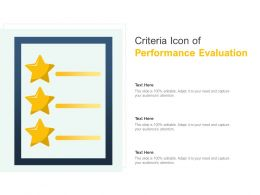 Criteria Icon Of Performance Evaluation