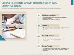 Criteria To Evaluate Growth Opportunities In Geo Energy Company Renewable Energy Sector Ppt Image