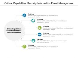 Critical Capabilities Security Information Event Management Ppt Powerpoint Model Cpb