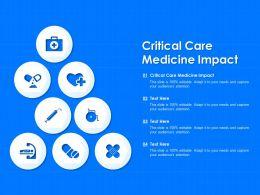 Critical Care Medicine Impact Ppt Powerpoint Presentation Slides