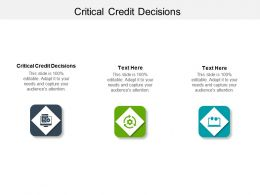 Critical Credit Decisions Ppt Powerpoint Presentation Infographics Gallery Cpb