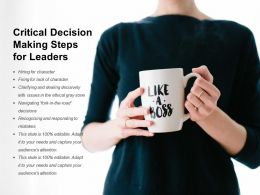 Critical Decision Making Steps For Leaders