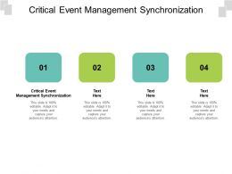 Critical Event Management Synchronization Ppt Powerpoint Presentation Icon Backgrounds Cpb