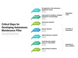 Critical Steps For Developing Autonomous Maintenance Pillar
