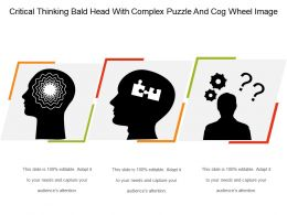 Critical Thinking Bald Head With Complex Puzzle And Cog Wheel Image