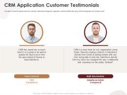 CRM Application Customer Testimonials CRM Application Ppt Professional