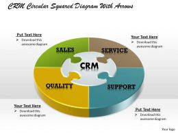 CRM Circular Squared Powerpoint Template Slide