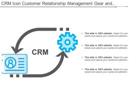 Crm Icon Customer Relationship Management Gear And Two Arrow