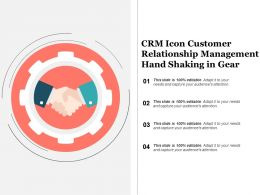 Crm Icon Customer Relationship Management Hand Shaking In Gear