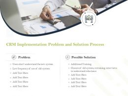 CRM Implementation Problem And Solution Process Ppt Powerpoint Elements