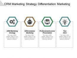 Crm Marketing Strategy Differentiation Marketing Professional Investor Presentation Cpb