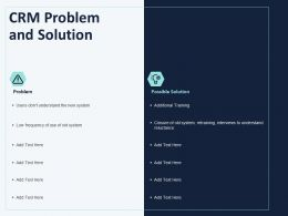 CRM Problem And Solution Ppt Powerpoint Presentation Icon Graphics Pictures