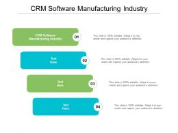 CRM Software Manufacturing Industry Ppt Powerpoint Presentation Pictures Infographics Cpb