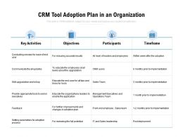 CRM Tool Adoption Plan In An Organization