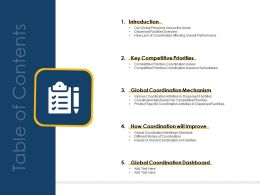 Cross Border Subsidiaries Coordination Management Table Of Contents Ppt Diagram