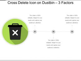 Cross Delete Icon On Dustbin 3 Factors