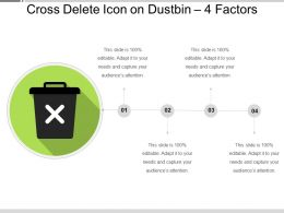 Cross Delete Icon On Dustbin 4 Factors