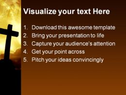 Cross Sunset Religion PowerPoint Template 0610  Presentation Themes and Graphics Slide02