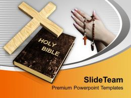 Cross Symbol And Bible With Praying Hands Powerpoint Templates Ppt Themes And Graphics 0113