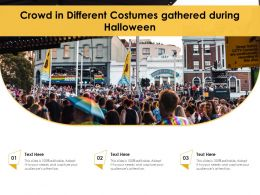 Crowd In Different Costumes Gathered During Halloween