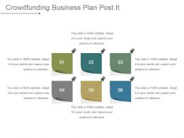 Crowdfunding Business Plan Post It Powerpoint Slide Background