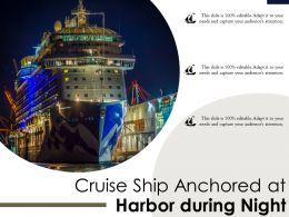 Cruise Ship Anchored At Harbor During Night