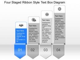 cs Four Staged Ribbon Style Text Box Diagram Powerpoint Template