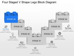 Cs Four Staged V Shape Lego Block Diagram Powerpoint Template