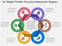 cs Six Staged Timeline Success Achievement Diagram Flat Powerpoint Design