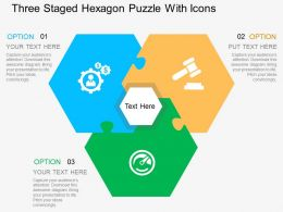 Cs Three Staged Hexagon Puzzle With Icons Flat Powerpoint Design