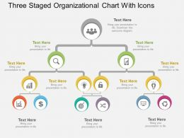 cs Three Staged Organizational Chart With Icons Flat Powerpoint Design