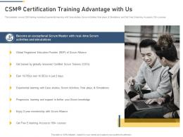 CSM Certification Training Advantage With Us Professional Scrum Master Training Proposal It Ppt Rules