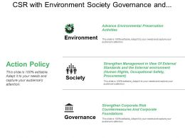 Csr With Environment Society Governance And Action Policy
