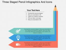 ct Three Staged Pencil Infographics And Icons Flat Powerpoint Design