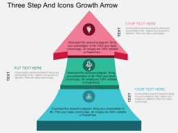 ct Three Step And Icons Growth Arrow Flat Powerpoint Design