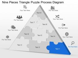 Cu Nine Pieces Triangle Puzzle Process Diagram Powerpoint Template