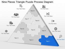Cu Nine Pieces Triangle Puzzle Process Diagram Powerpoint Template
