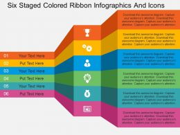 Cu Six Staged Colored Ribbon Infographics And Icons Flat Powerpoint Design