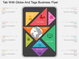 cu Tab With Globe And Tags Business Flyer Flat Powerpoint Design