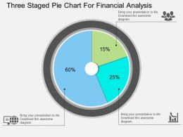 cu Three Staged Pie Chart For Financial Analysis Flat Powerpoint Design