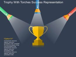 cu Trophy With Torches Success Representation Flat Powerpoint Design