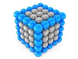 Cube Made Of Silver And Blue Balls Displaying Team Strength Stock Photo