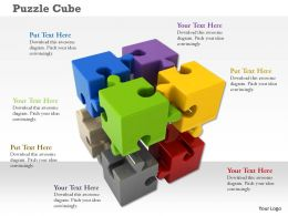 Cube Of Multi Color Puzzle Pieces On White Background