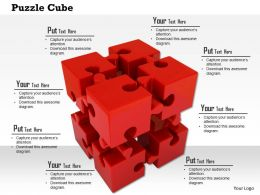 Cube Of Red Puzzle Pieces On White Background