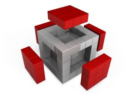 Cube With Red Sides On White Background Stock Photo