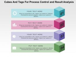 Cubes And Tags For Process Control And Result Analysis Flat Powerpoint Design