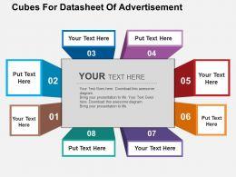 Cubes For Datasheet Of Advertisement Flat Powerpoint Design