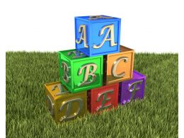 Cubes Of Colorful Letters On Grass Stock Photo